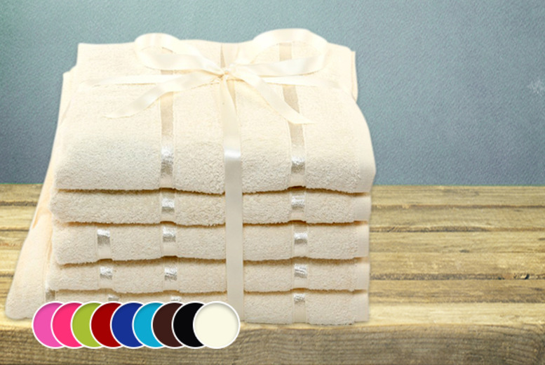 £16.99 instead of £99.99 (from Groundlevel.co.uk) for a 5-piece Egyptian cotton and satin stripe towel set in a choice of 9 colours - save 83%