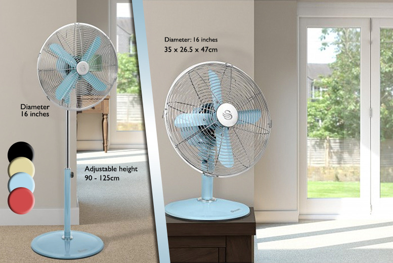 "£34.99 instead of £59.95 (from Swan Products) for a 12"" retro desk fan, or £45 for a 16"" retro standing fan - save up to 42%"