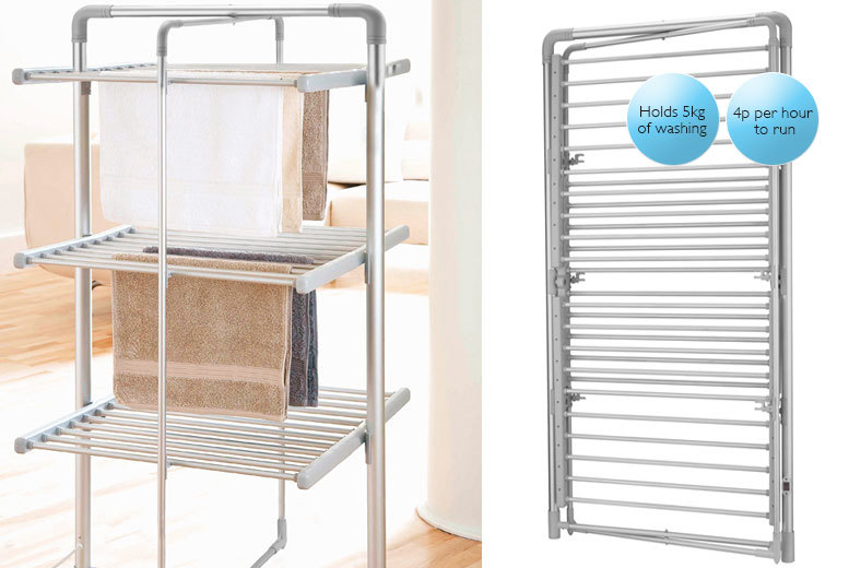 £59.99 instead of £99.99 (from Easy Life Group) for a three-tier heated tower airer - get piping hot and save 40%