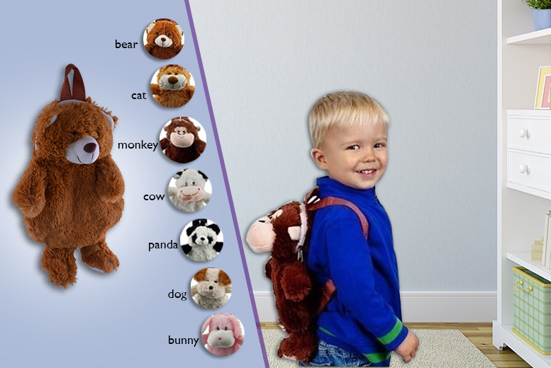 £5.99 instead of £19.99 (from London Exchainstore) for a cuddly animal backpack, £11.99 for two - pick from 7 animals and save up to 70%
