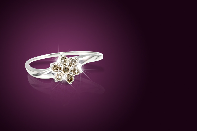£125 instead of £499 (from Bijouamour) for a Champagne diamond flower ring – save a sparkly 75%