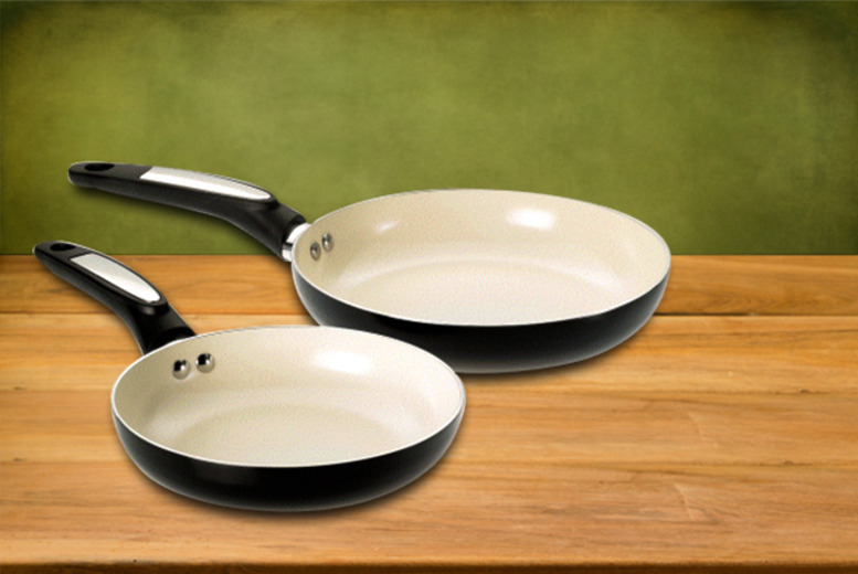 £19.99 instead of £49.09 for a 2-piece Viners non-stick ceramic pan set in black or red from Wowcher Direct - save 60%