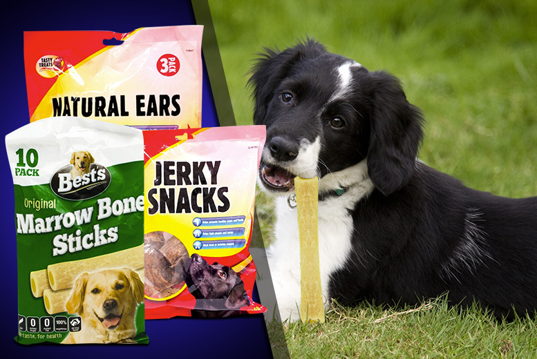 £3.99 instead of £19.99 (from Groundlevel) for 3 dog treat packs, £6.99 for 6 packs or £9.99 for 9 packs - save up to 80%
