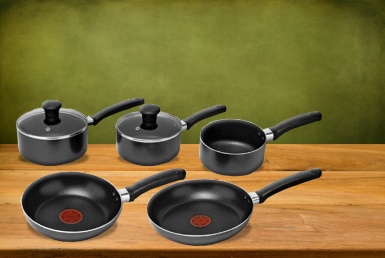 £29.99 instead of £85 (from BP Sales Direct) for a 5-piece non-stick Tefal pan set inc. 3 saucepans and 2 frying pans - save 65%