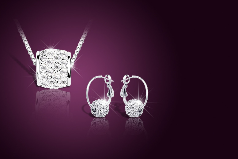 £12 instead of £109 (from Your Ideal Gift) for an 18ct white gold-plated barrel pendant and earring set with Swarovski Elements – save up to 89%