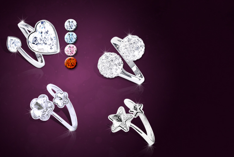 £9 (from Rocks of London) for a choice of four adjustable rings made with Swarovski Elements - save up to 85%