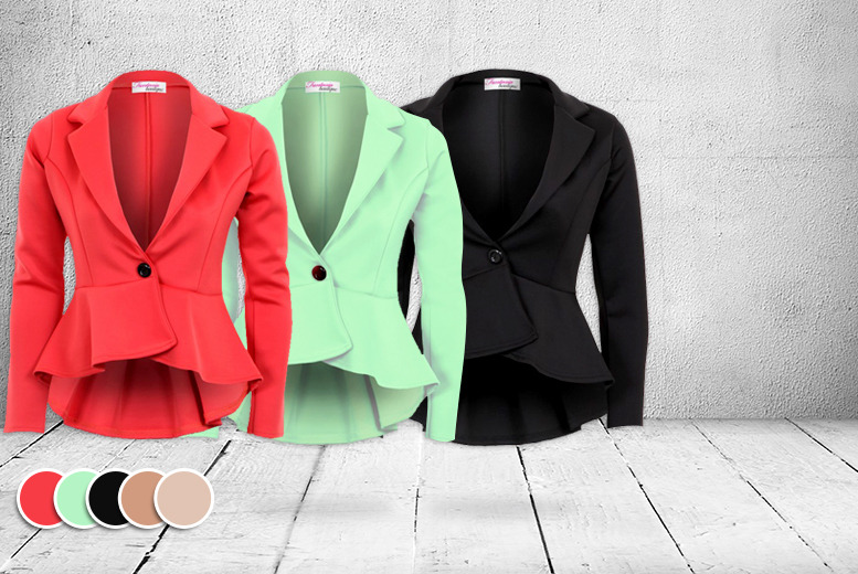 £14 instead of £29 (from Fantasia Boutique) for a fitted peplum blazer in a choice of 5 colours - save a blazin' 52%