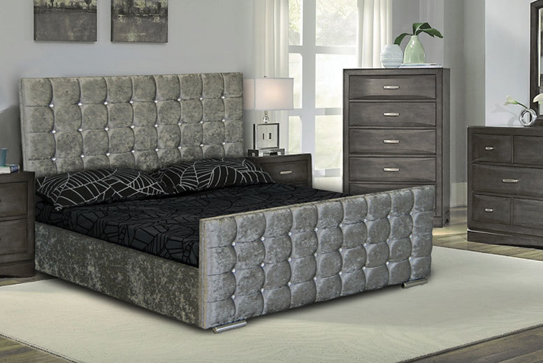crushed velvet diamante ottoman storage bed