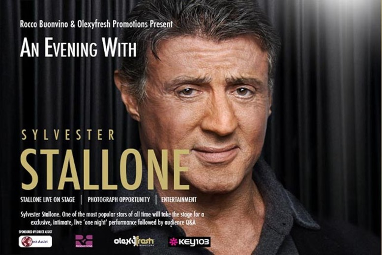 £19.99 for a standard ticket to an evening with Sylvester Stallone on 1st August 2014 from OlexyFresh - save up to 56%
