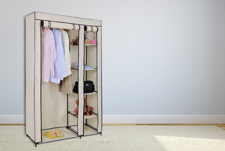 £19.99 instead of £49.99 (from Your Essential Store) for a canvas wardrobe with hanging rail and storage shelves - save 60%
