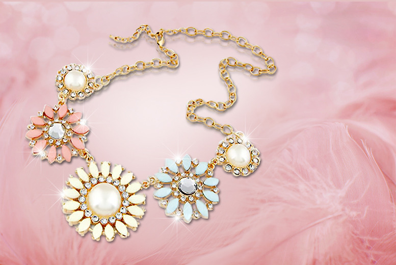 £10 instead of £60 (from Boni Caro) for a vintage-style flower statement necklace - save 83%