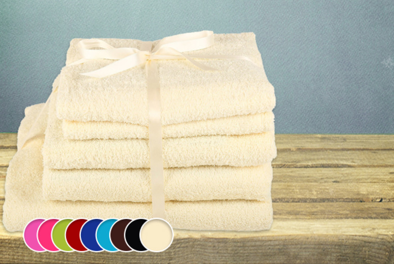 £14.99 instead of £79.99 (from Groundlevel.co.uk) for a 5-piece gift-wrapped Egyptian cotton towel bundle - save 81%