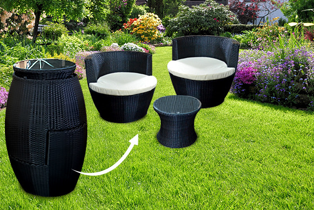 3pc stackable rattan garden set shop wowcher