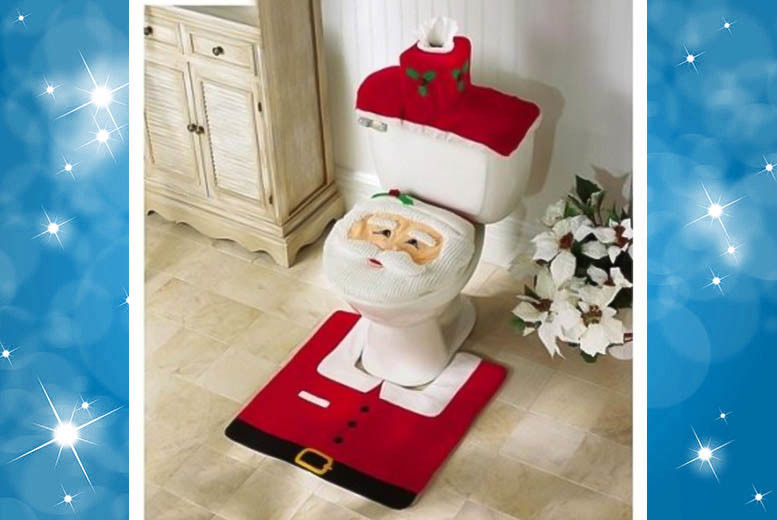 £6.99 (from UK Home and Garden Store) for a Santa Claus toilet seat cover, bathroom rug and toilet tank cover set, £12.99 for two sets - save up to 74%