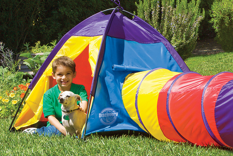 £14.99 for a children's adventure play tent with tunnel from Traditional Garden Games!
