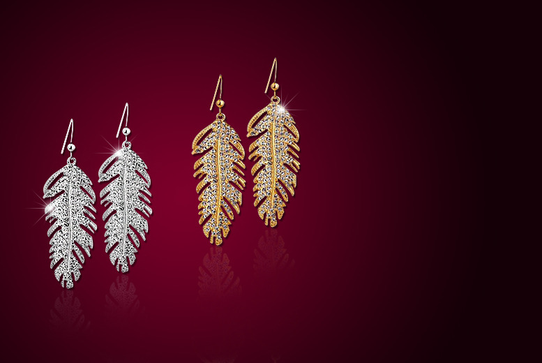 £9.99 instead of £59 (from Your Ideal Gift) for 18k rose or white gold plated feather earrings made with Swarovski Elements - save 83%