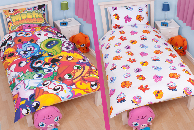 £12.99 instead of £45.48 for a Moshi Monsters bedding set inc. duvet cover, pillowcase, filled cushion and fleece blanket from Wowcher Direct - save 71%
