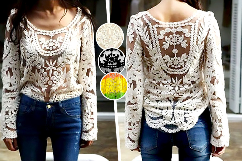 £12.99 instead of £44.99 (from DFashion) for an embroidered floral lace crochet top in black, cream or multi-striped - save 71%