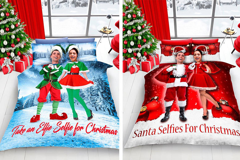 £16.99 instead of £49.99 (from Groundlevel) for a Christmas selfie duvet cover bed set - get festive and save up to 66%
