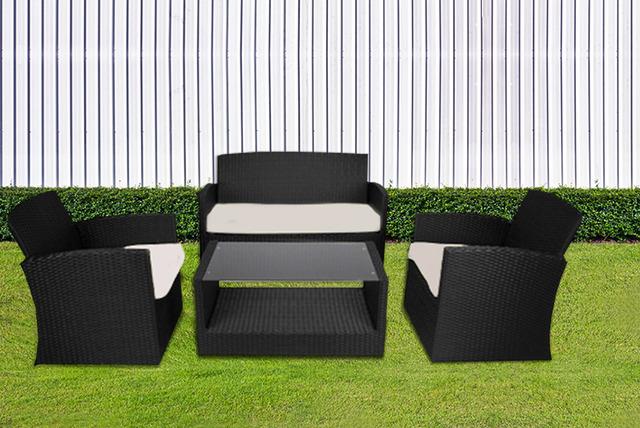 4-Piece Rattan Garden Furniture Set | Shop | Wowcher