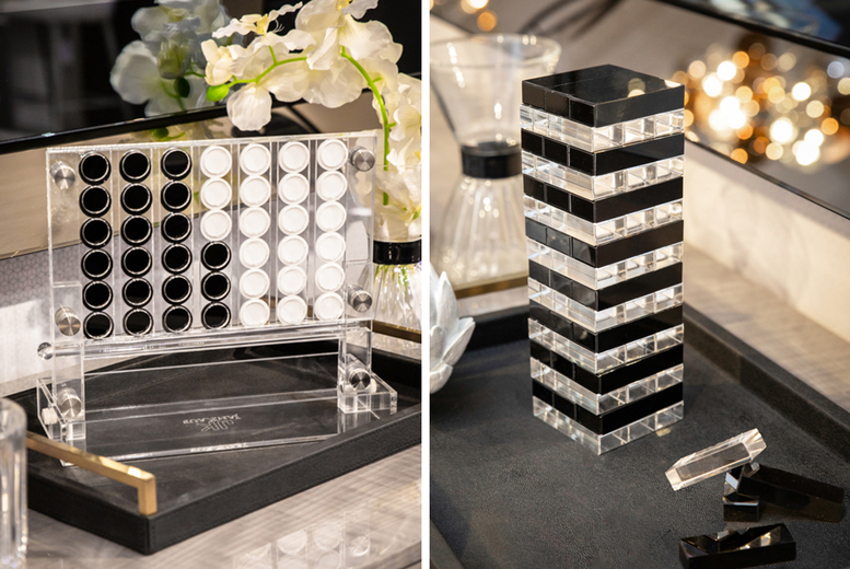 £69 instead of £199 for an acrylic Jenga tumbling block set, £89 for an acrylic connect four set from Jan Kauf - save