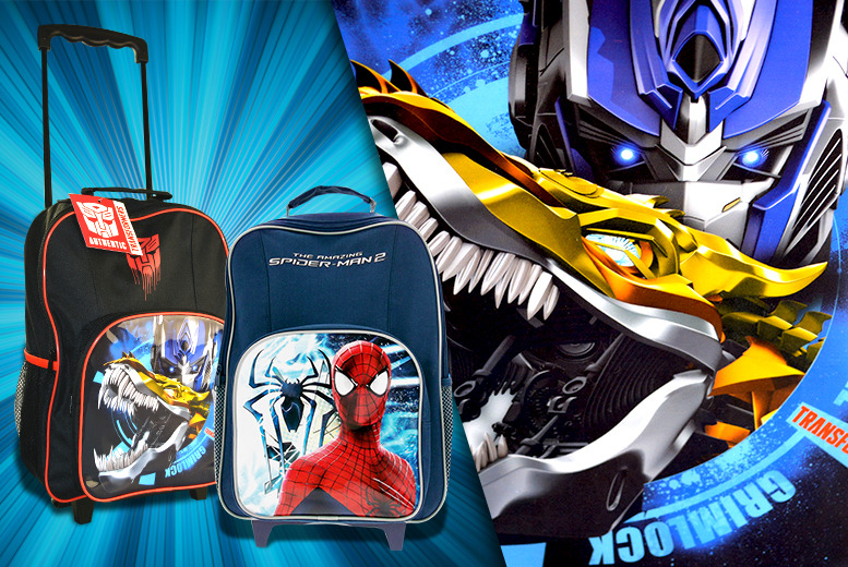 £7.99 for a children's Transformers or Amazing Spiderman 2 wheelie luggage bag from Wowcher Direct