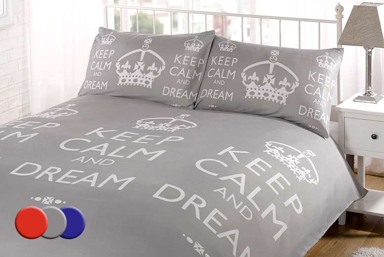 £7.99 for a single 'Keep Calm' duvet set, £11.99 for a double, £12.99 for a king or £14.99 for a super king from Wowcher Direct - save up to 78%