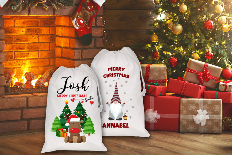 £5.99 instead of £20 for a Christmas personalised sack or £9.99 for two sacks from DecoMatters- save up to 70%