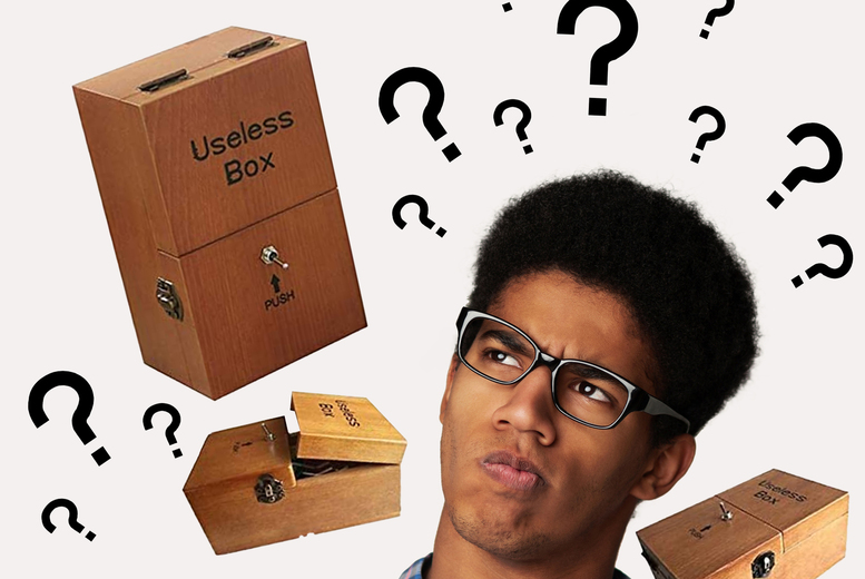 £9.99 instead of £39.99 for a novelty useless box in Useless Box or Merry Christmas designs and brown, beige or pink c