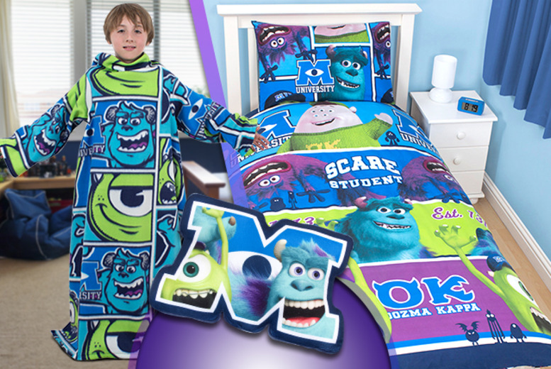 £11.99 for a Monsters University bedroom bundle including a duvet cover, pillowcase, slanket and cushion from Wowcher Direct - save up to 71%