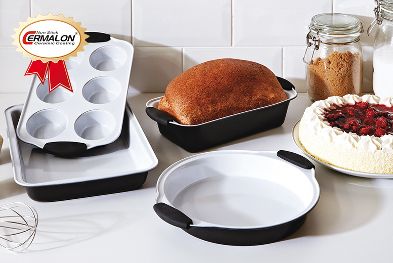 £19.99 instead of £49.87 for a 4-piece ceramic bakeware set including cake, cookie, loaf and muffin pans from Wowcher Direct - save 60%