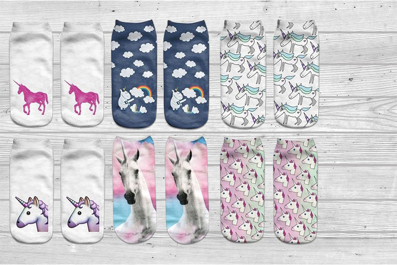 £6.99 instead of £32 (from Doohickey-Hut) for a six-pack of unicorn socks in six different designs - save 78%