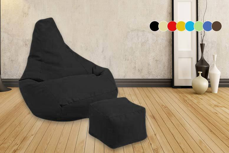 £28 instead of £92 (from Gardenista) for a highback beanbag and matching footstool - choose from eight colours and save 70%