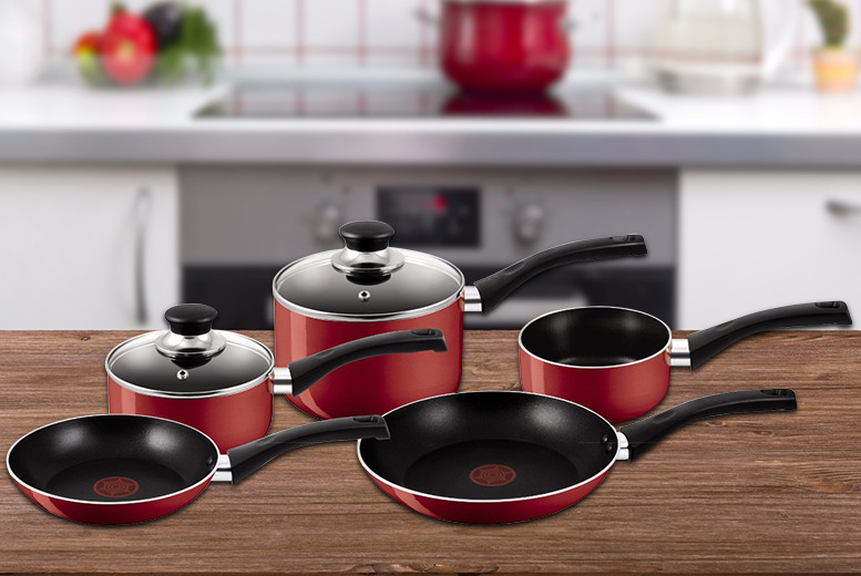 £39.98 instead of £109.99 (from BP Sales Direct) for a red 5-piece Tefal non-stick cookware set - save 64% + DELIVERY INCLUDED