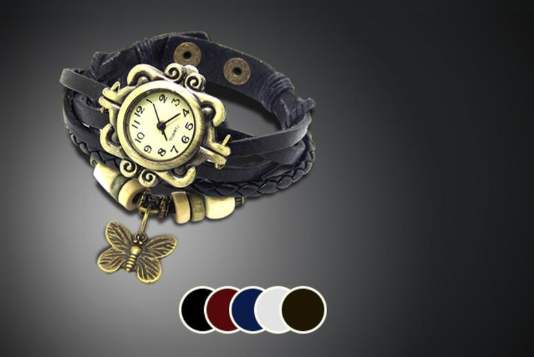 £8 instead of £45 (from Cerichic) for a vintage-style leather wraparound bracelet watch, £15 for 2 watches - save up to 82%