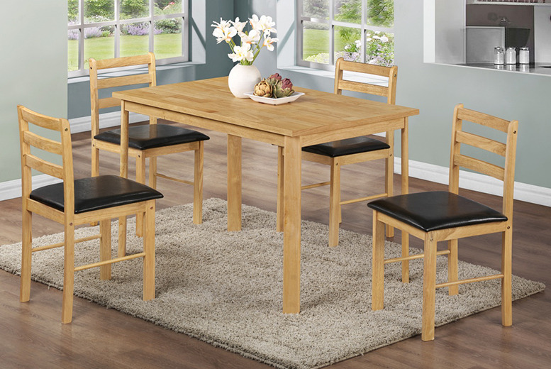 From £99.95 (from Fishoom) for a 3-piece dining table and chairs set made from solid wood, £139.95 for a 5-piece set - save up to 75%