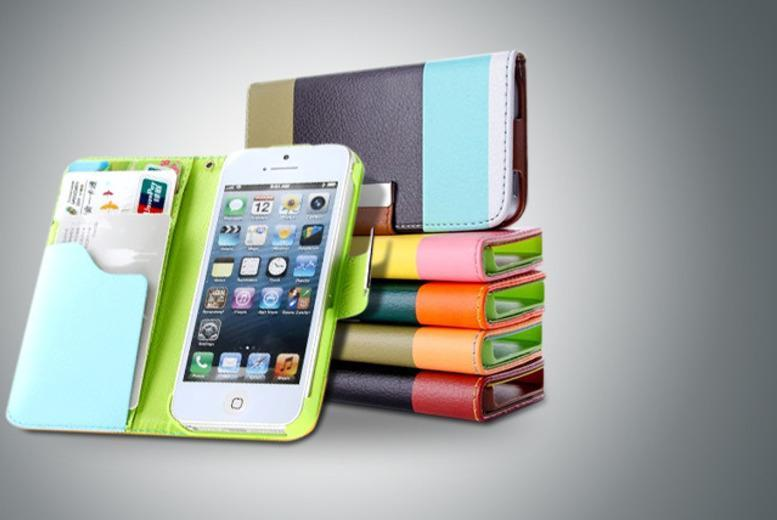 £5.99 (from Emyub) for a tri-colour faux leather smartphone wallet, £7.99 with a screen protector, stylus and cable