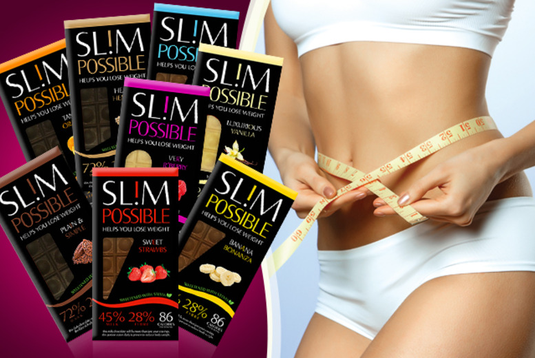 £12 instead of £23.92 (from SLIMPOSSIBLE) for 8 SLIM POSSIBLE Chocolate Bars – save 50%