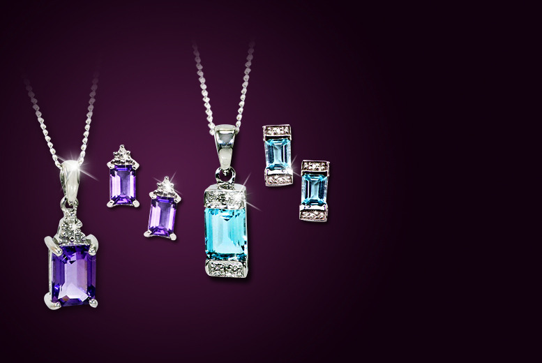 £40 instead of £99 (from Bijou Amour) for a blue topaz or amethyst pendant and earring set with diamond chip edging - save 60%