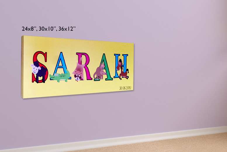 "£9 instead of £54.99 (from Your Perfect Canvas) for a 24""x8"" children's animal name canvas, £14 for 30""x10"", £19 for 36""x12"" - save up to 84%"