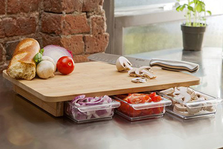 £14.99 instead of £79.99 (from 2Tech) for a bamboo chopping board with three pull-out food container trays - save 81%