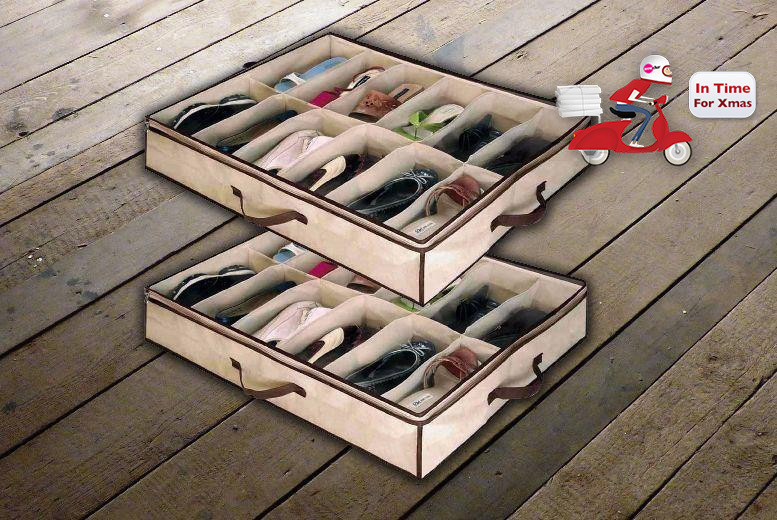£1.99 instead of £9.99 for an under bed shoe storage organiser that stores up to 12 pairs from Ckent Ltd - save 80%