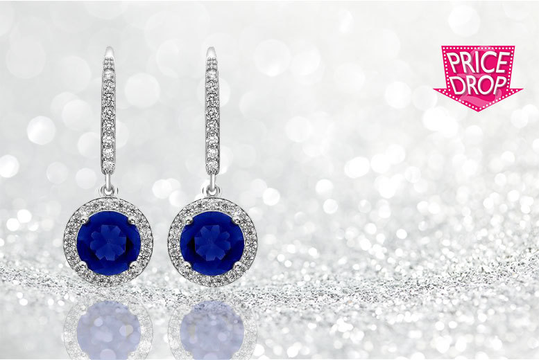 £14 instead of £229 (from Gemnations) for a pair of white gold plated and brilliant cut blue drop earrings - sparkle and save 94%