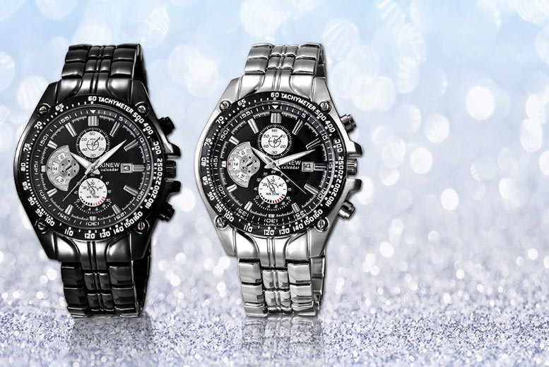 Styled By Mens Chronograph Watch (Black and Silver)