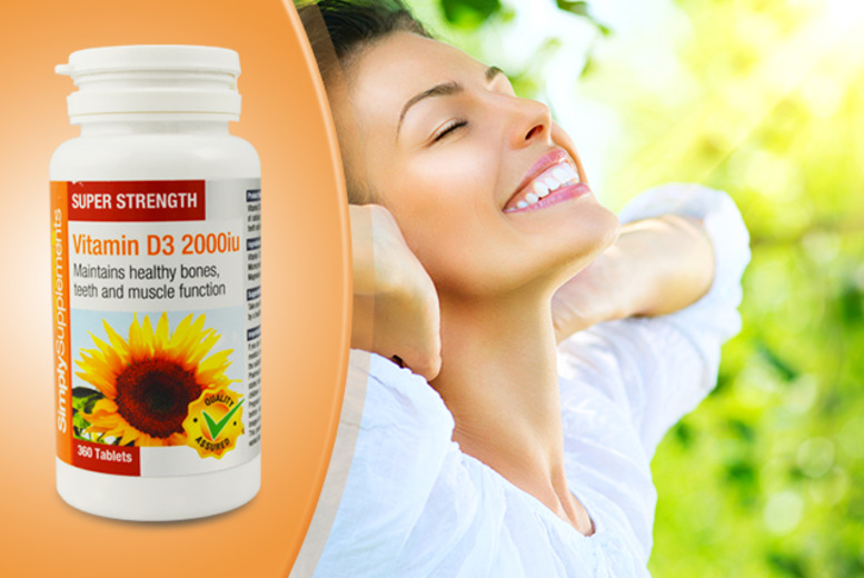 £5.99 instead of £12.95 (from Simply Supplements) for a 3-month* supply of Vitamin D3 2000iu tablets - save 54% + DELIVERY INCLUDED