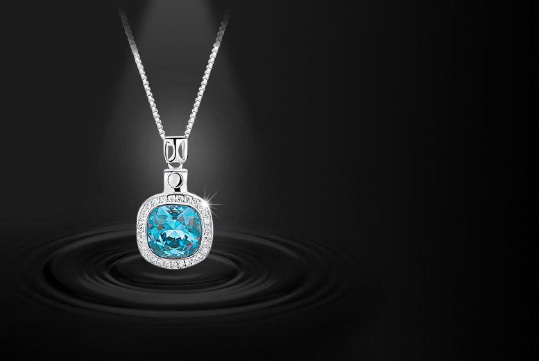 £9 instead of £49.99 (from gettingbling.com) for an aquamarine pendant made with Swarovski Elements - save 82%