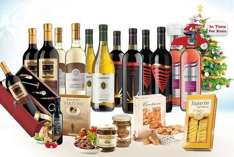 £59 (from Giordano Wines) for a 12-bottle Italian wine and food hamper with a sommelier set - eat, drink and be merry + DELIVERY INCLUDED!