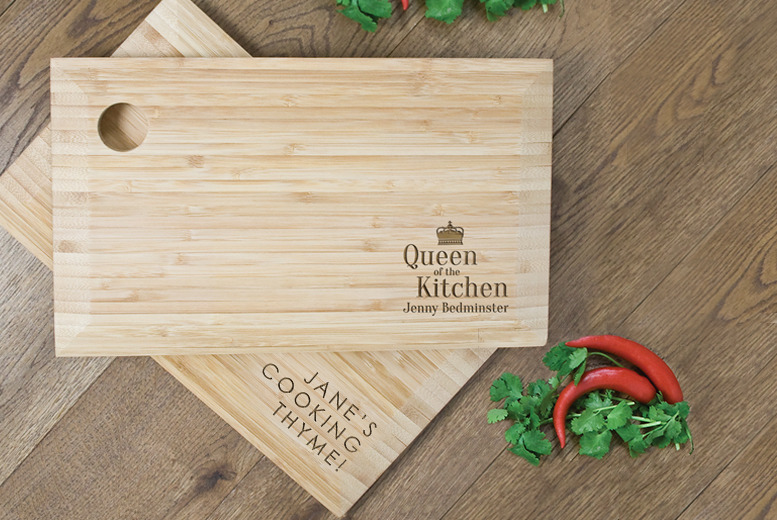 £15 instead of £30 (from Treat Republic) for a personalised bamboo chopping board – chop chop and you'll get a saving of 50%