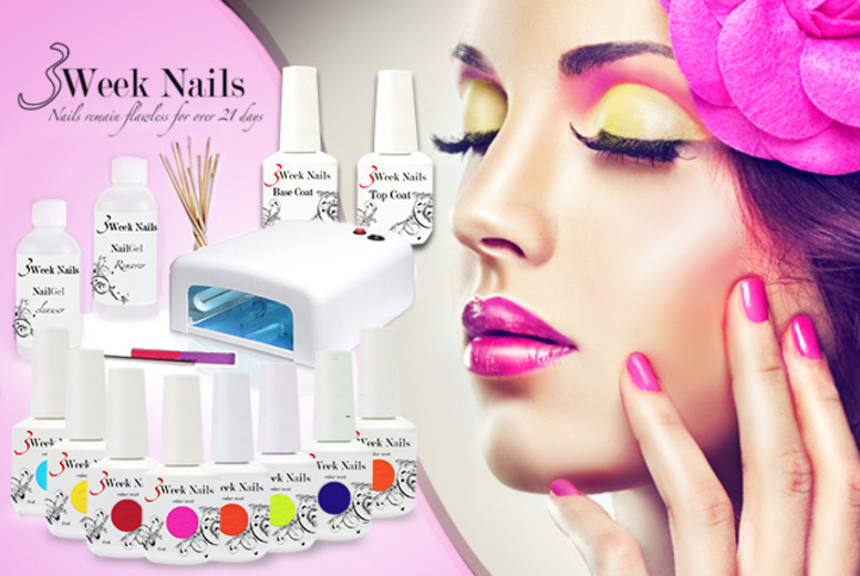 £58 (from 3 Week Nails) for a 12-piece home gel manicure starter kit inc. 4 polishes, £68 to include 6 polishes or £78 to include 8 - save up to 75%