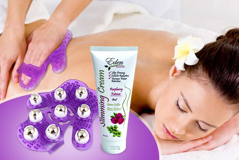 £14 instead of £89.99 (from Eden Organic) for a 150ml bottle of rasberry ketone & green coffee 'slimming cream' and glove massager set - save 84%